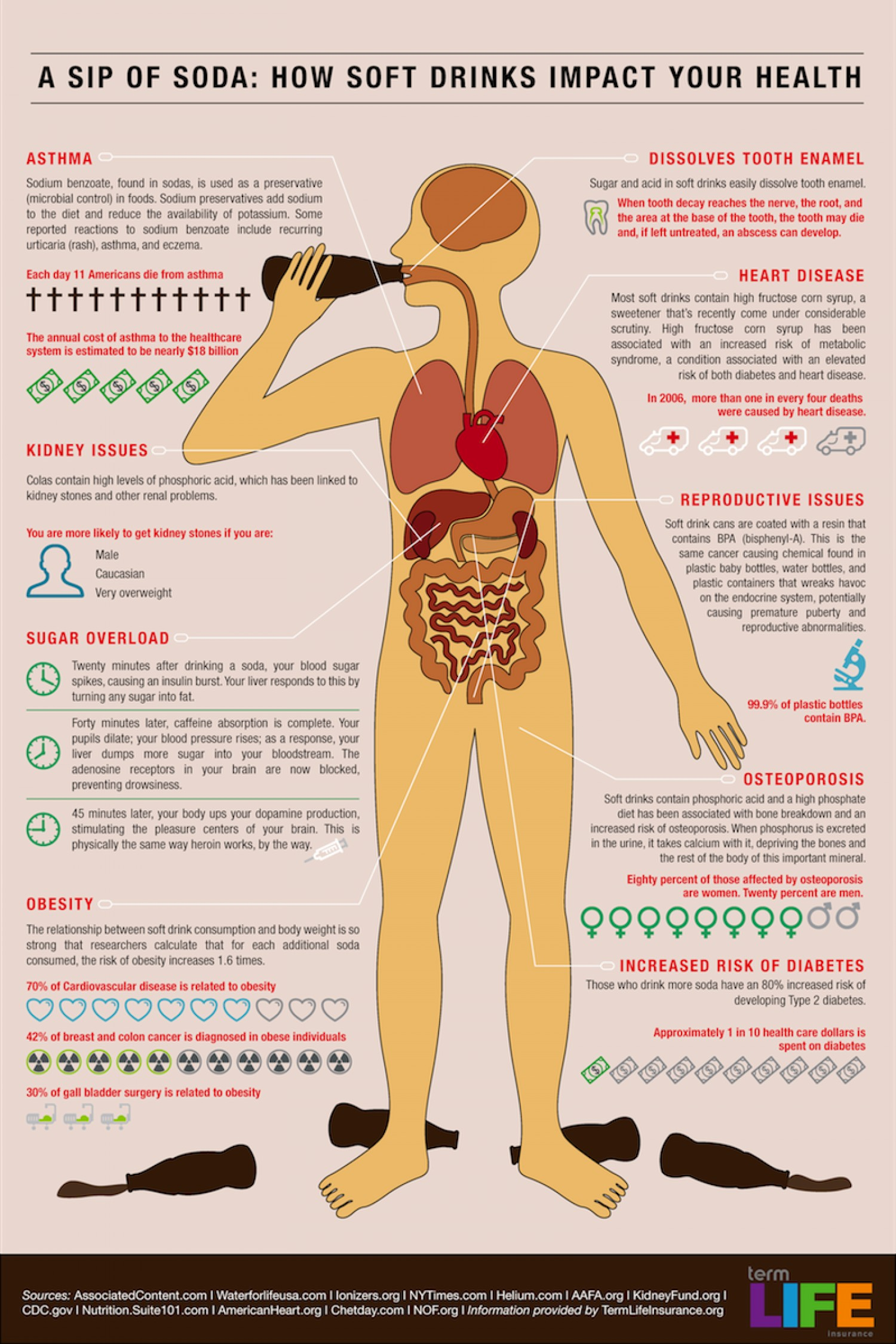 The dangers of drinking Soft Drinks and other sodas infographic