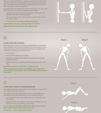 List of exercises that you can follow to get rid of lower back pain infographic