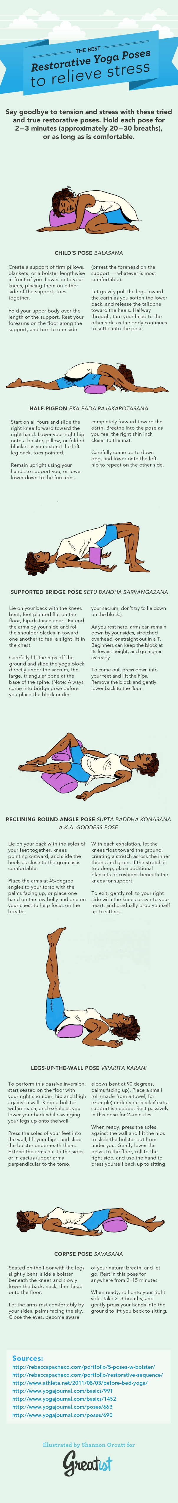 Yoga Poses for Stress Infographic