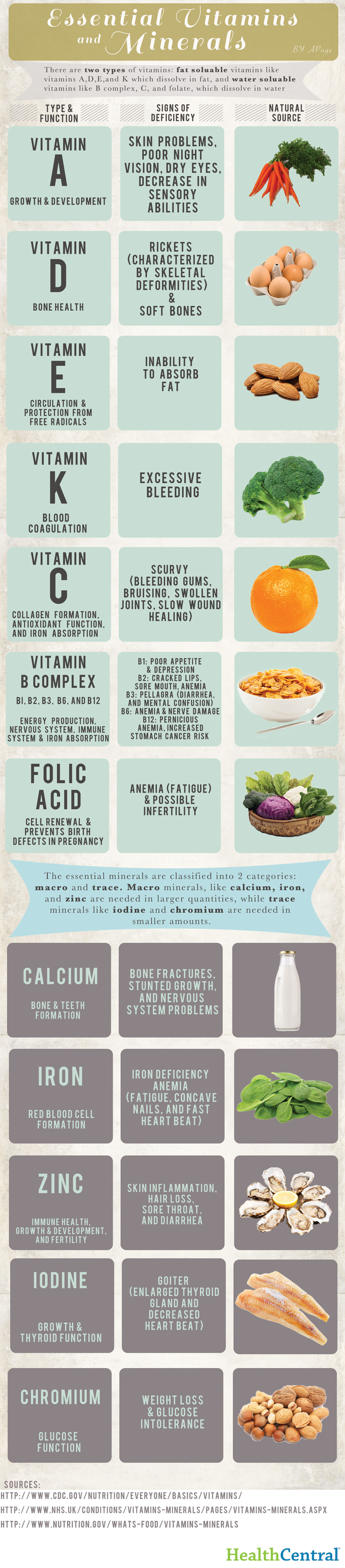 Essential Vitamins And Minerals Map Infographic