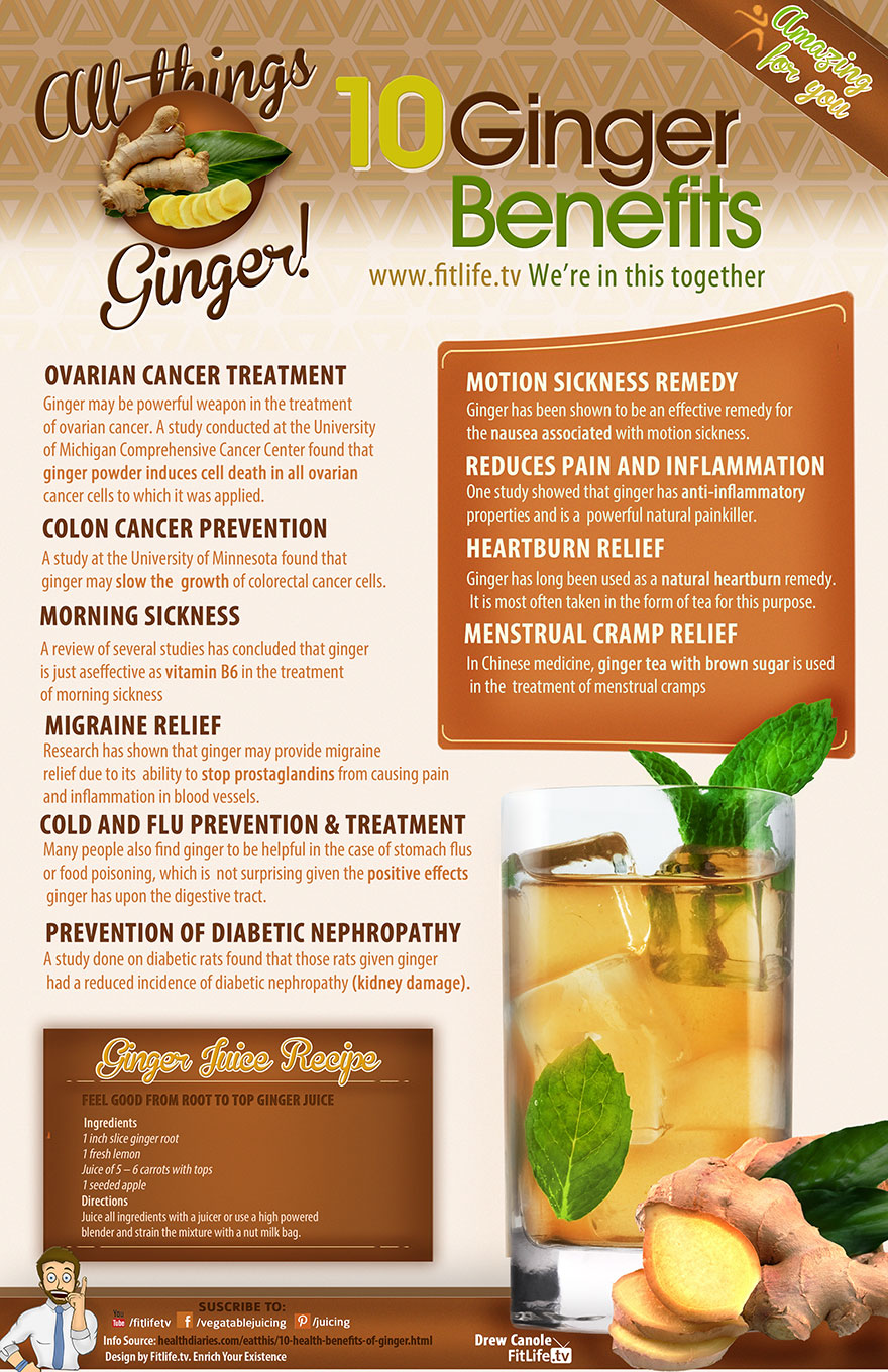 10 Amazing Benefits Of Ginger Infographic
