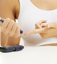 Diabetes patient measuring glucose level blood test using ultra