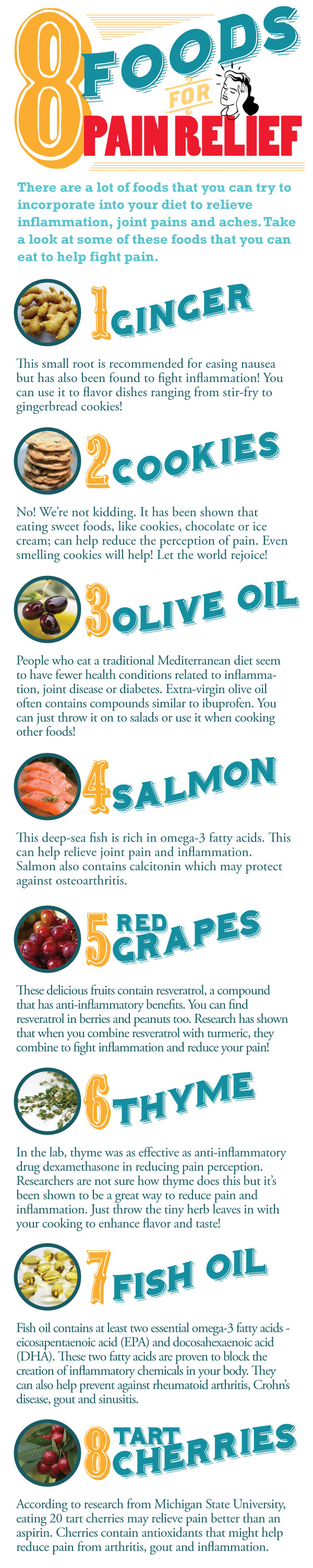 8 Foods To Relieve Pain Infographic