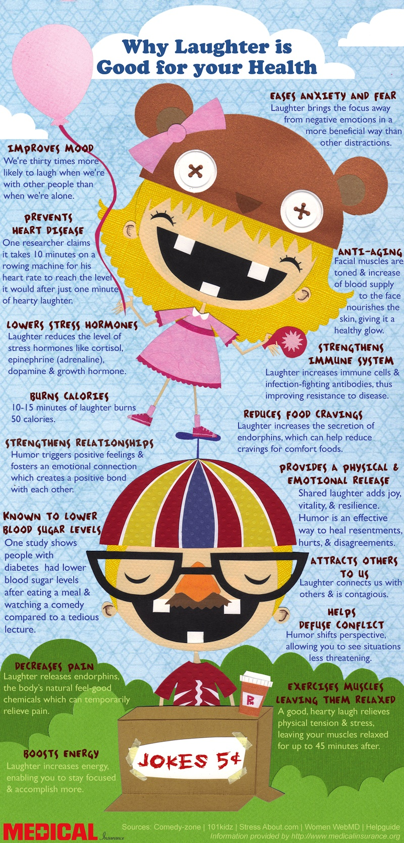 16 Benefits Of Laughter Infographic