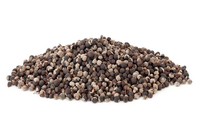 Vitex fruit used in chinese herbal medicine over white backgroun