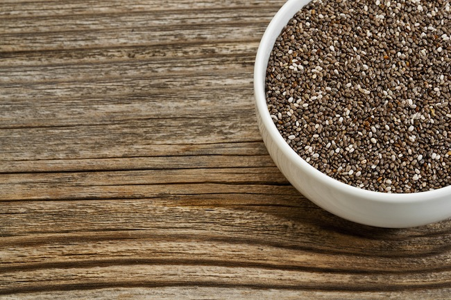 chia seeds - white ceramic