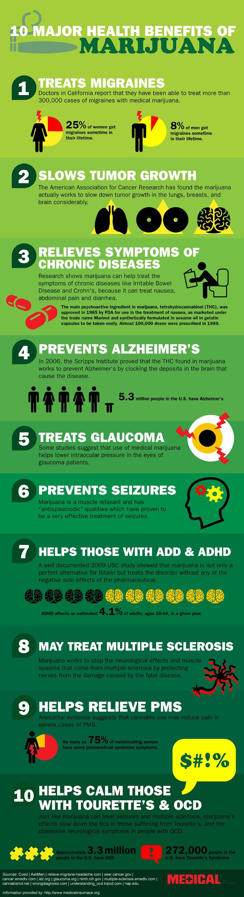 10 Marijuana Benefits Infographic