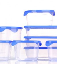 Plastic containers for food isolated on white