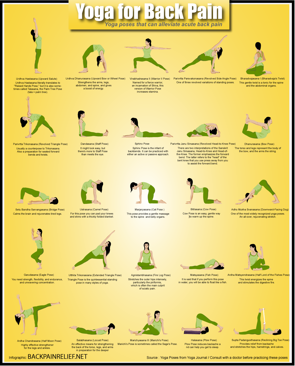 Yoga Poses For Back Pains Infographic