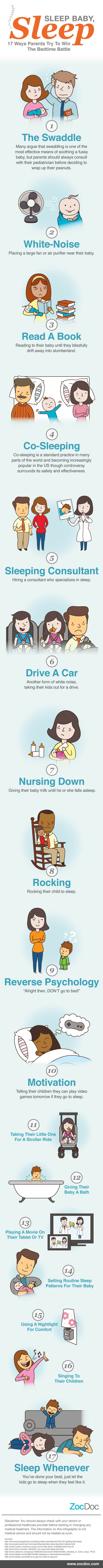 17 Ways To Make Your Baby Sleep Infographic