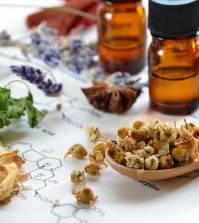 herbs and essential oils on science sheet