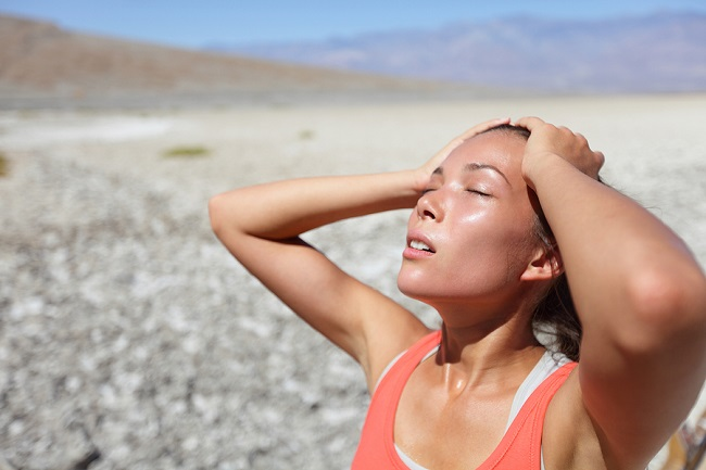 Desert woman thirsty dehydrated in Death Valley. Dehydration,