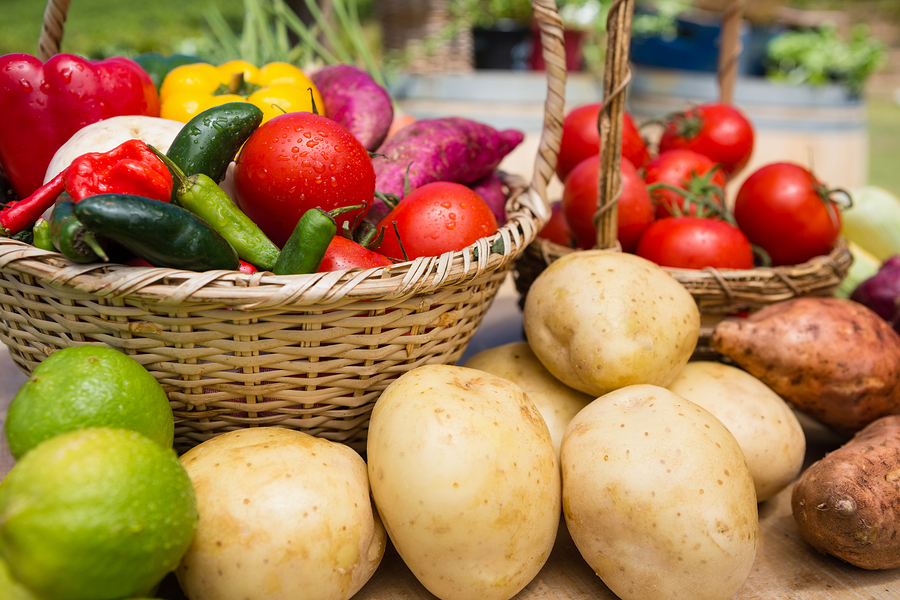 Close-up of various fresh vegetables arranged on table