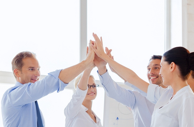 success and winning concept - happy business team giving high fi