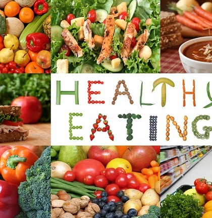 Healthy eating collage. Lots of fruits and vegetables, nuts and