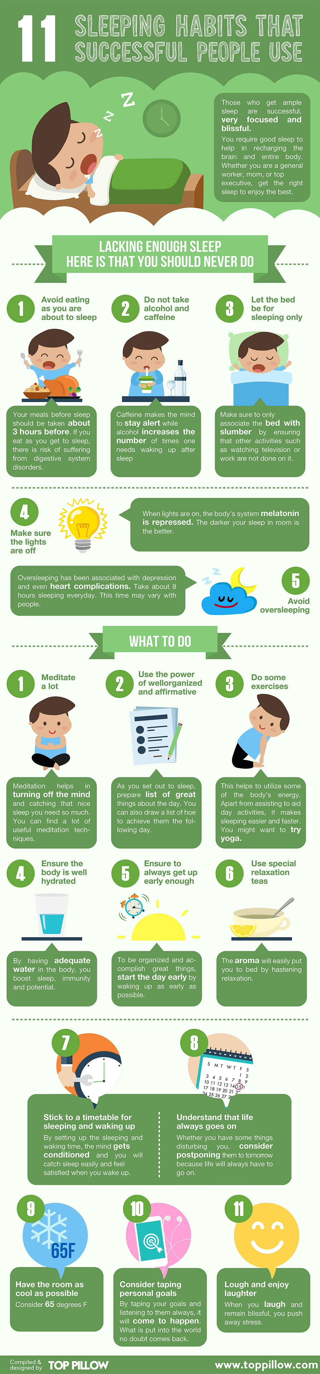 11 Sleeping Habits Of Successful People Infographic