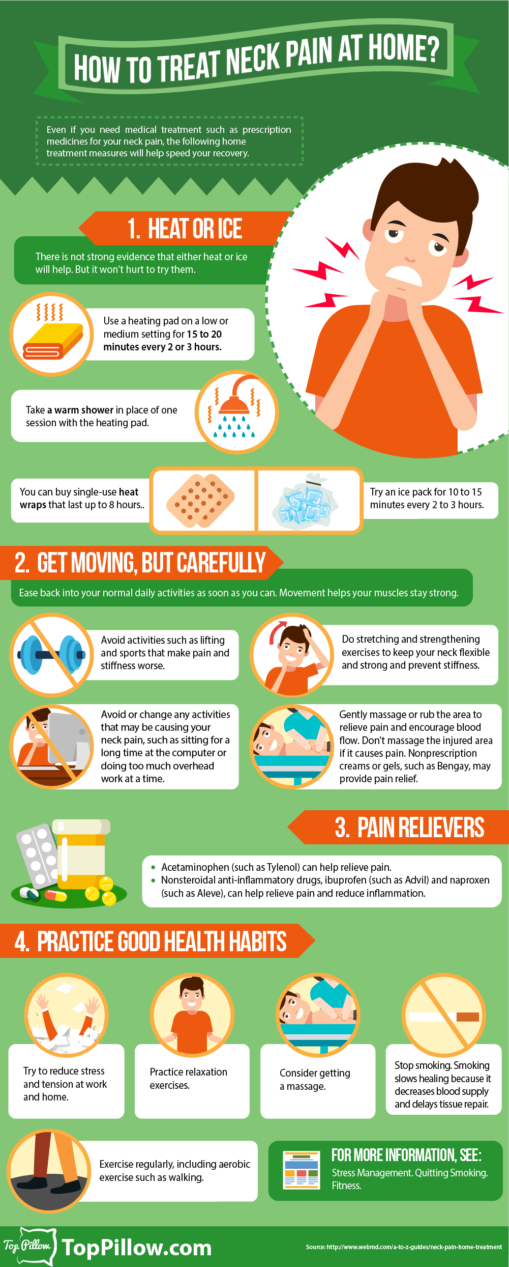 Simple Ways To Ease Neck Pain At Home Infographic