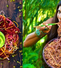 Raw Vegan Recipe: Rainbow Pasta With Creamy Dressing Video