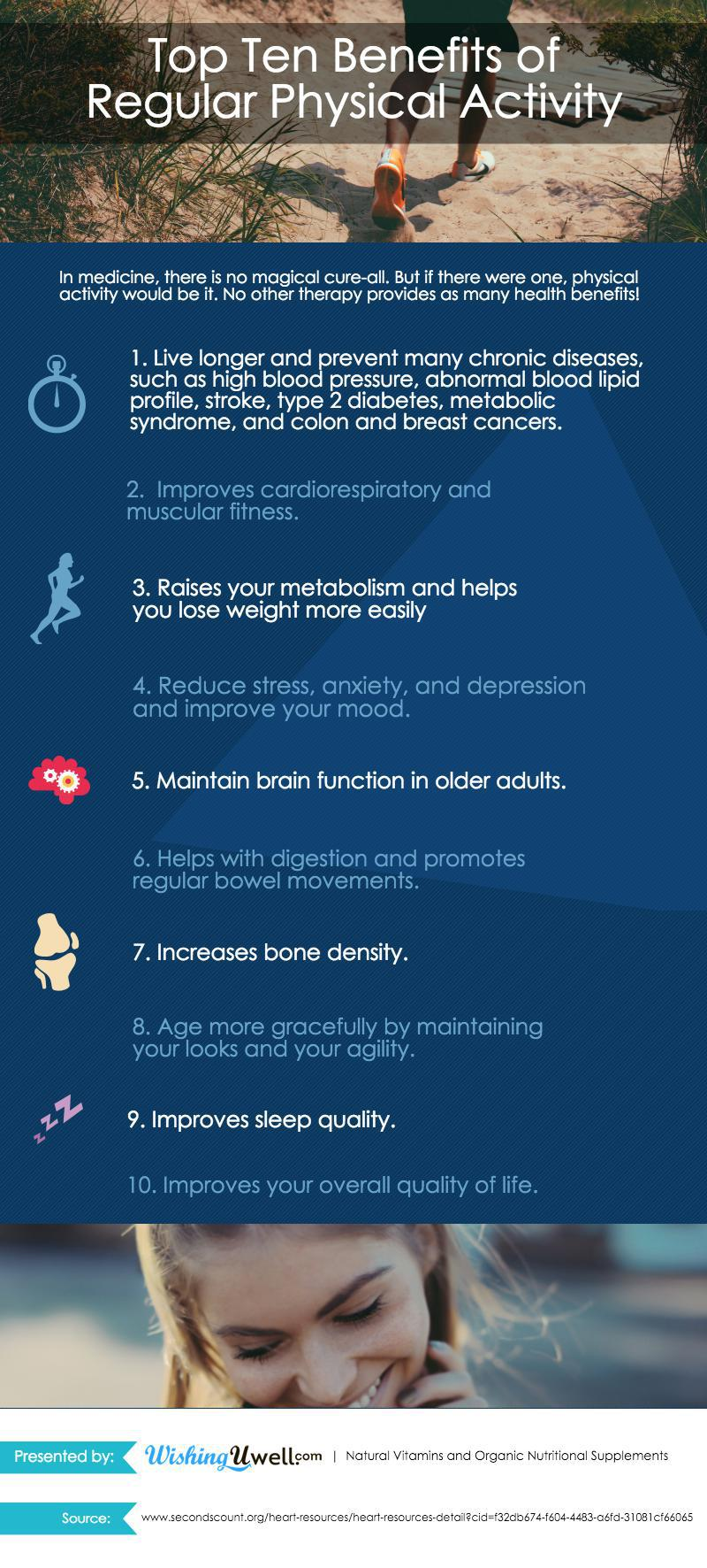 10 Important Health Benefits of Regular Physical Activity Infographic
