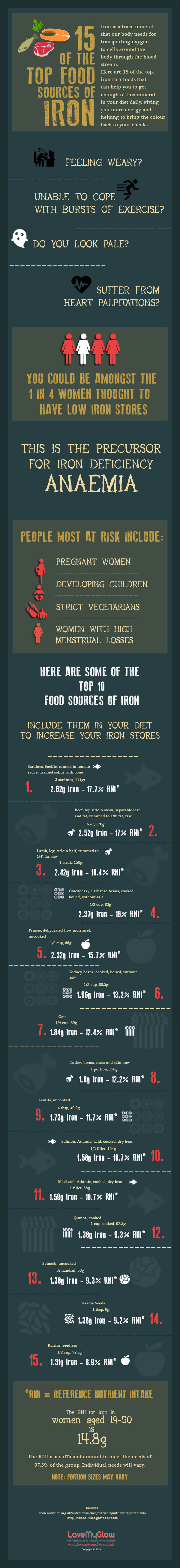 15 Of The Foods Super Rich In Iron Infographic