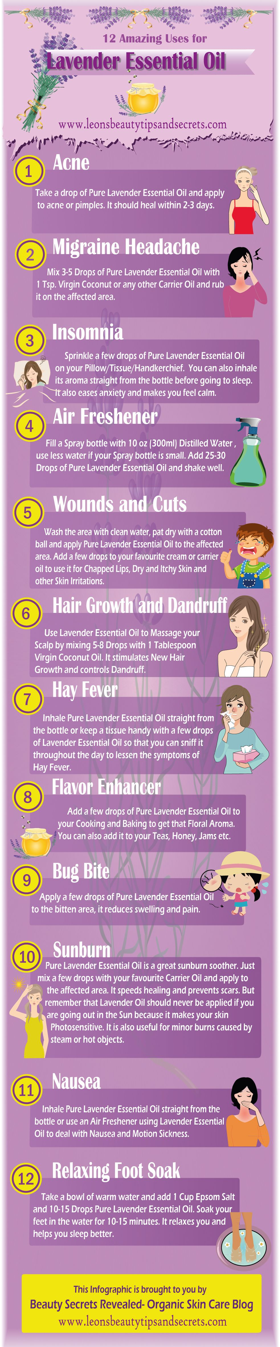 12 Great Reasons To Use Lavender Essential Oil Infographic