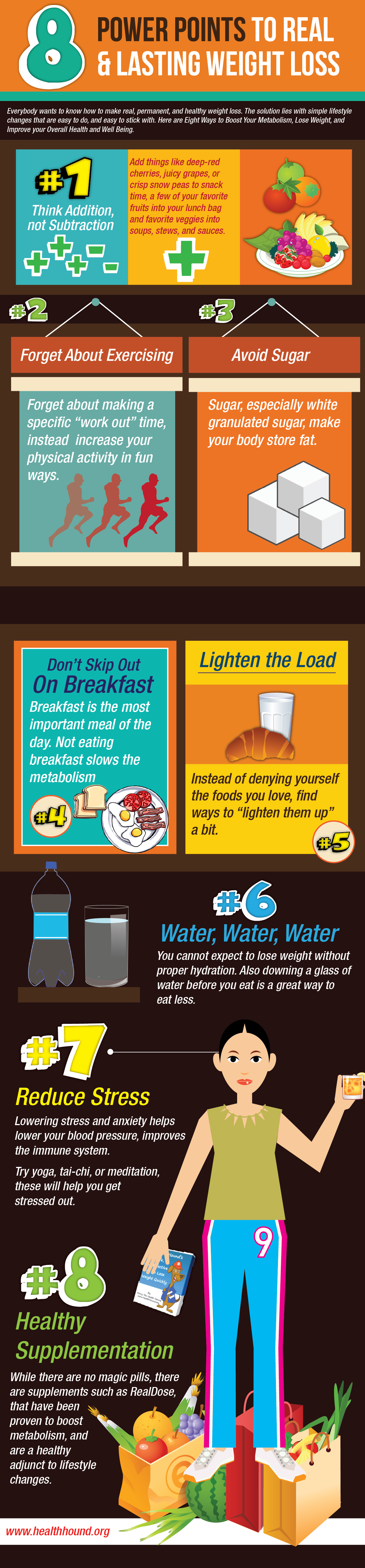 8 Power Points To Lose Weight Effectively (And Make It Last) Infographic