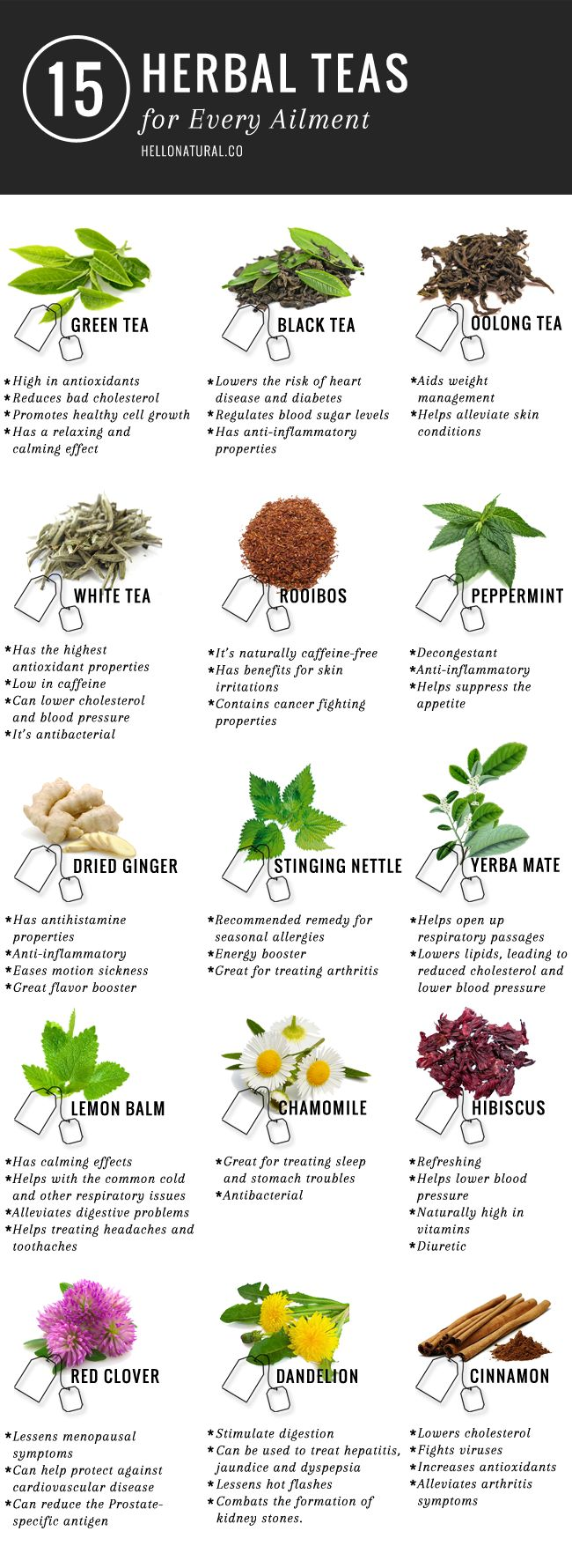 15 Different Teas To Cure Any Ailment Infographic