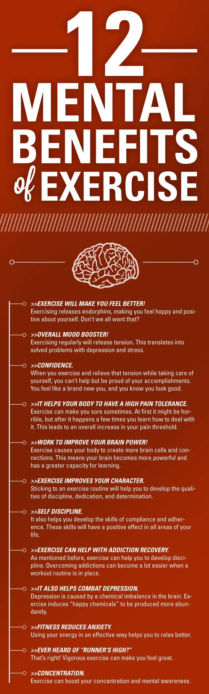 12 Mental Benefits You Can Get From Exercise Infographic