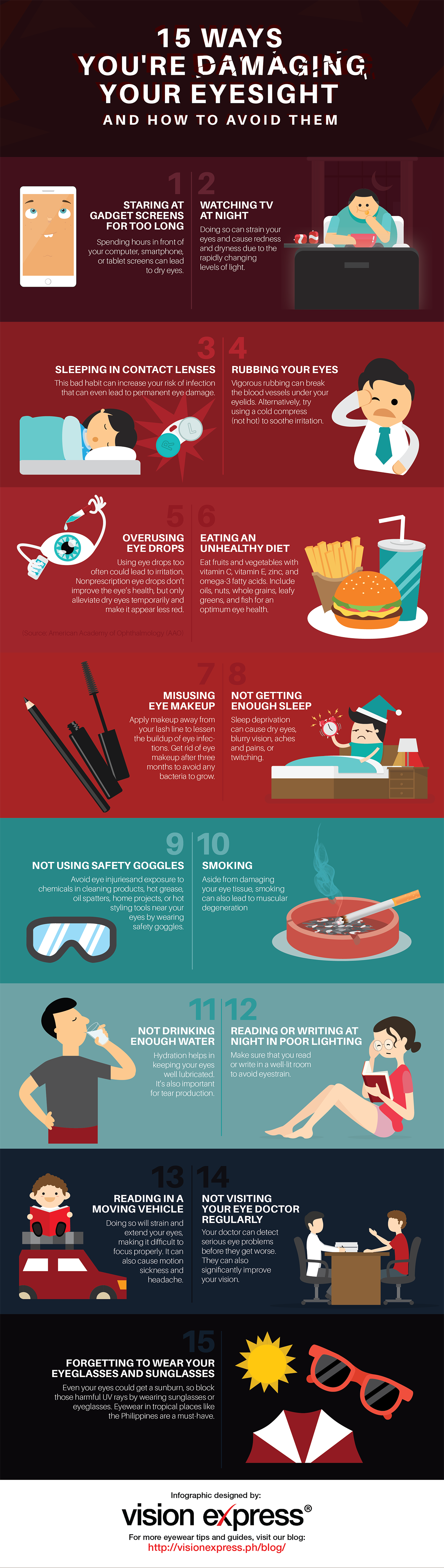 15 Ways You're Damaging Your Eyesight Without Realizing It Infographic