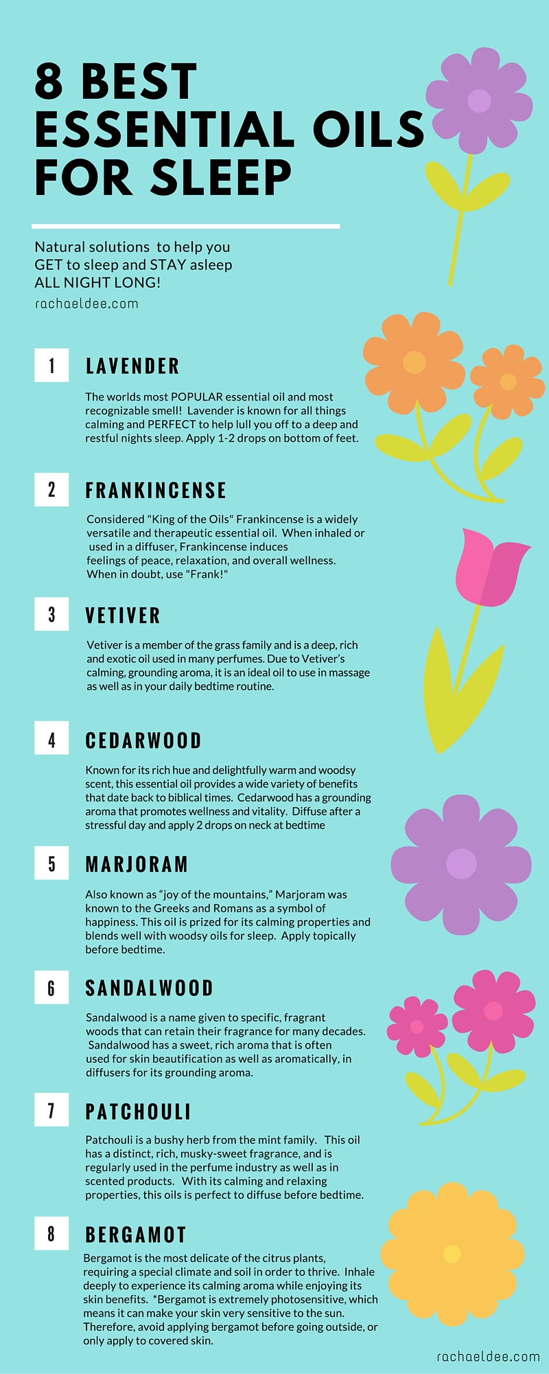 8 Most Effective Essential Oils For Better Sleep And Relaxation Infographic