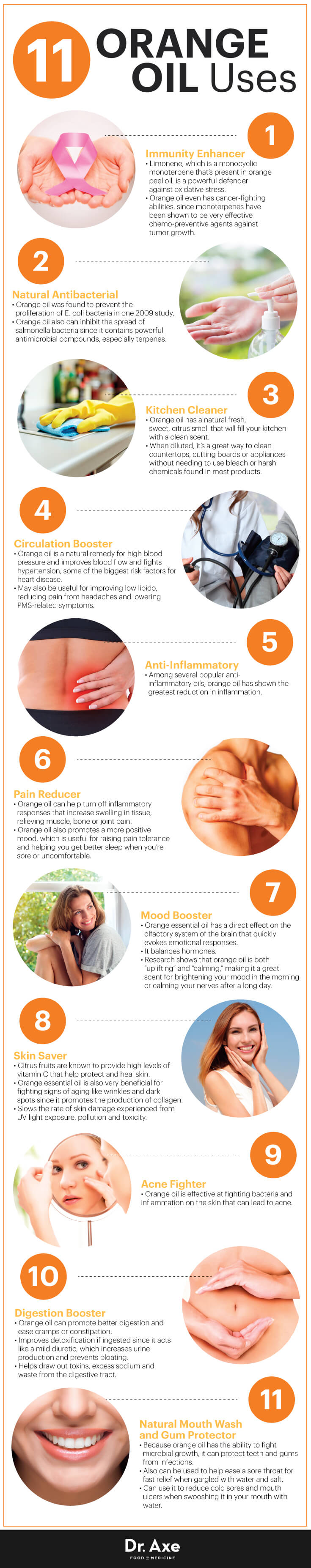 11 Unexpected Ways To Improve Your Health With Orange Essential Oil Infographic