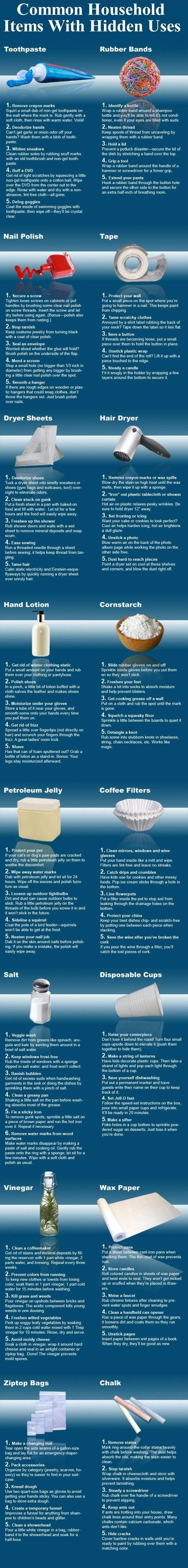 Smart uses for common household items you may not know about infographic - Household items use ...