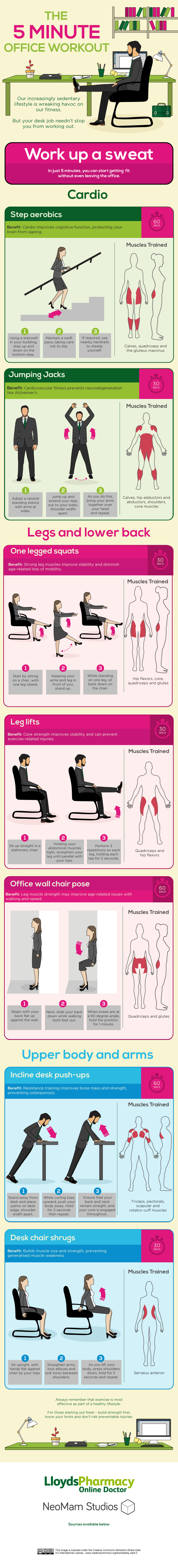 You'll Only Need 5 Minutes To Do This Simple Office Workout Infographic
