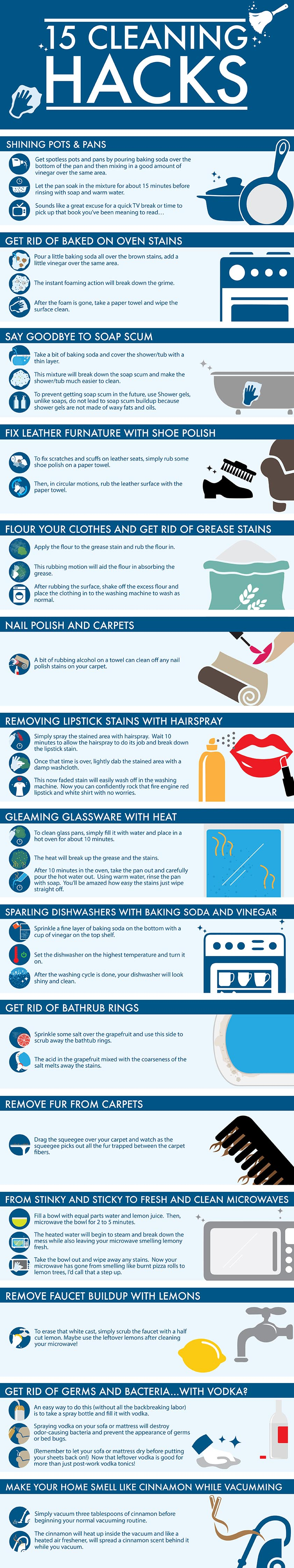15 Genius Cleaning Hacks That Will Make Your Life Easier Infographic