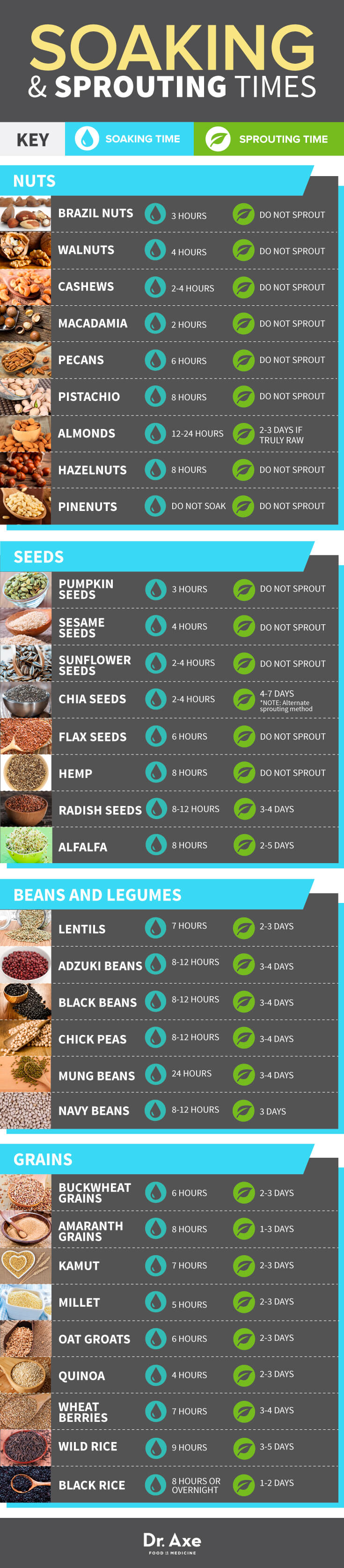 Optimal Soaking And Sprouting Times For All Your Favorite Nuts, Seeds, Legumes, And Grains Infographic