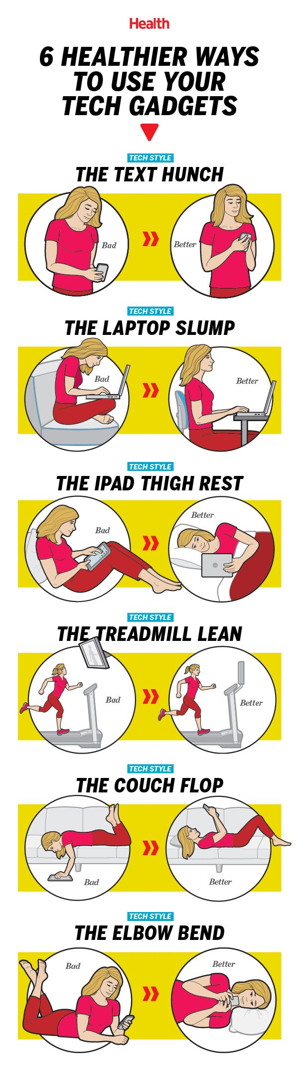 6 Tips On Healthier Posture While Using Cellphone And Other Gadgets Infographic