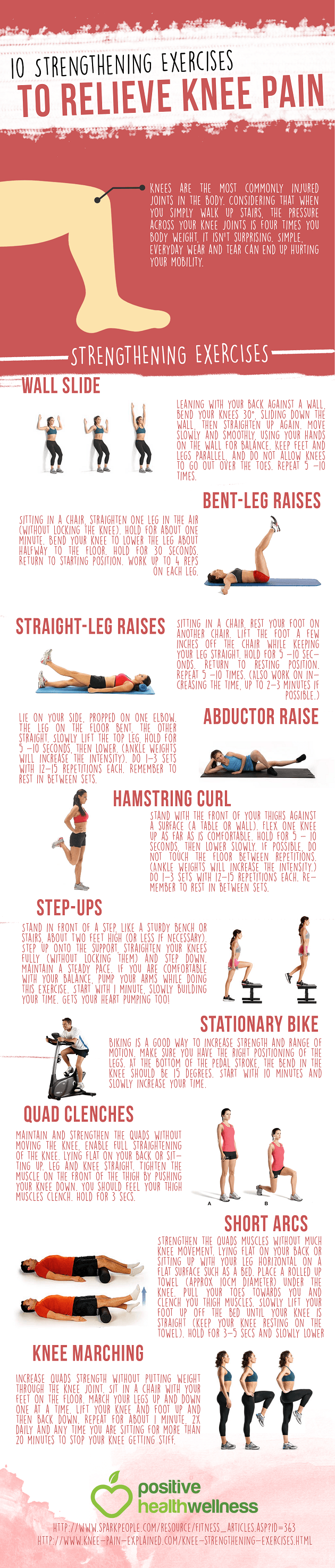 10 Exercises For Effective Knee Pain Relief Infographic