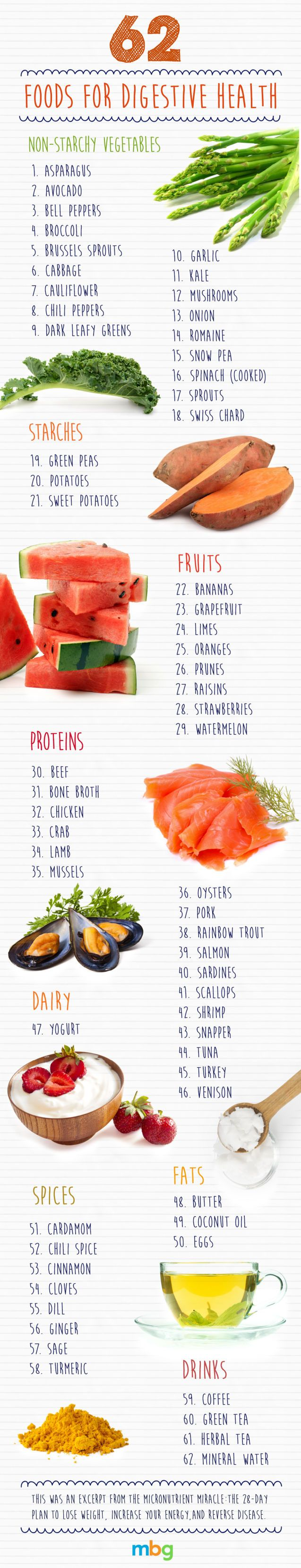 62 Foods For Improving Your Digestive Health Infographic