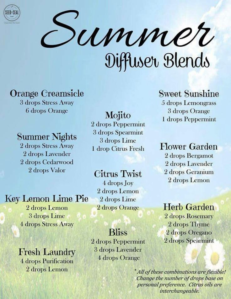 Essential Oil Diffuser Blends For Summertime Infographic