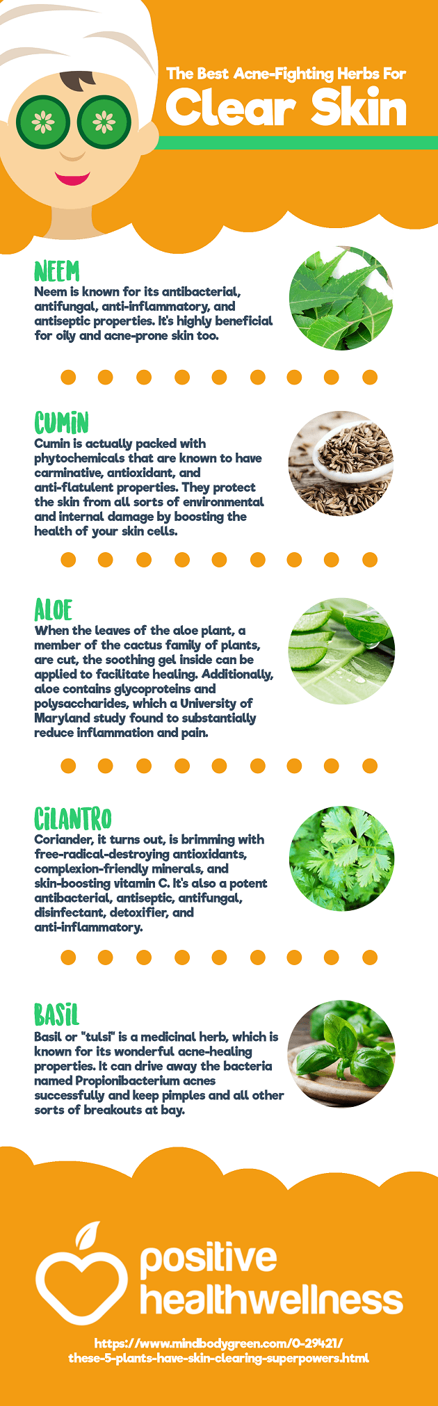 The Most Effect Acne-Fighting Herbs For Perfectly Clear Skin Infographic