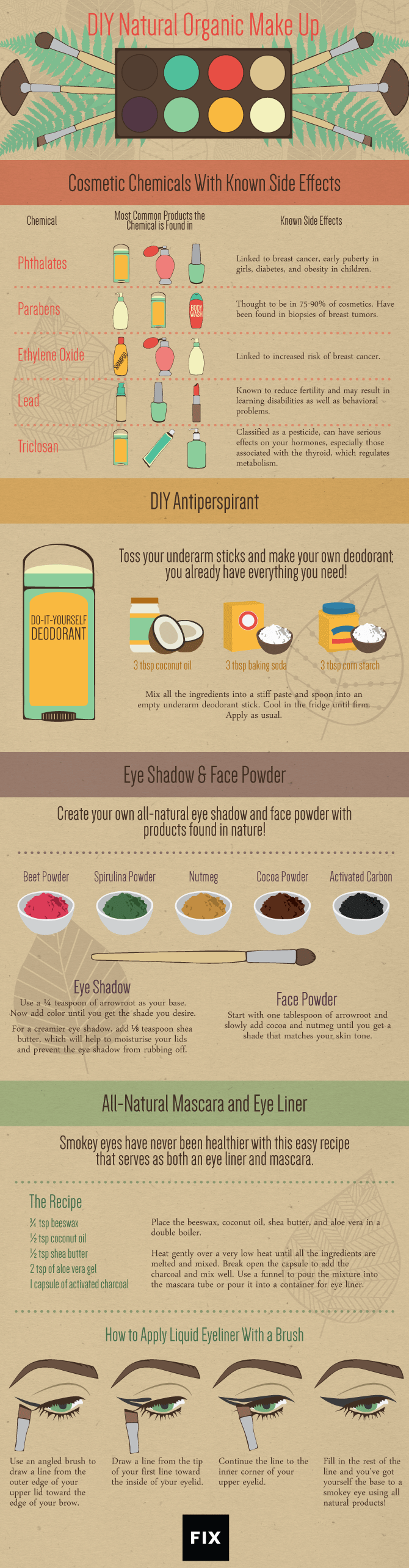 DIY Natural Organic Make Up Ideas And Recipes Infographic