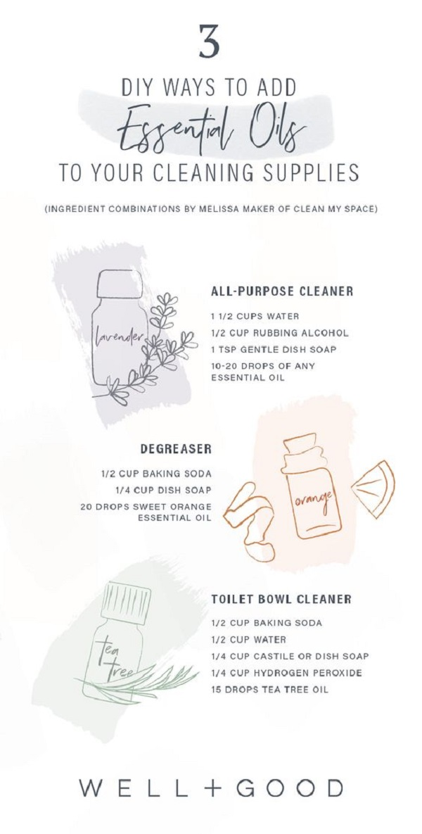 Make Chemicals-Free Cleaning Supplies Using Essential Oils Infographic